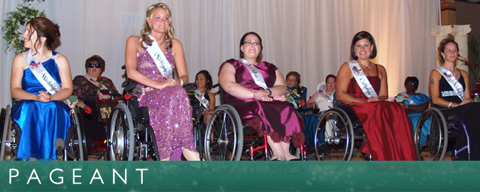 Five ladies wait on stage to hear who will be crowned the Ms. Wheelchair America 2010